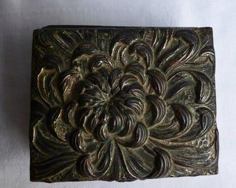 Vintage Japanese Metal Jewelry Box, Chrysanthemum