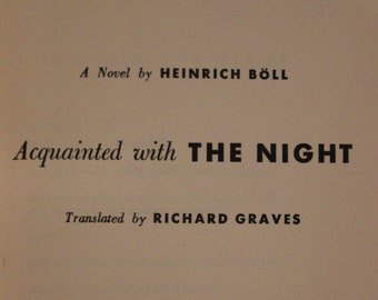 Acquainted With the Night | Heinrich Böll (1954, First Edition, Henry Holt and Company, Inc.)