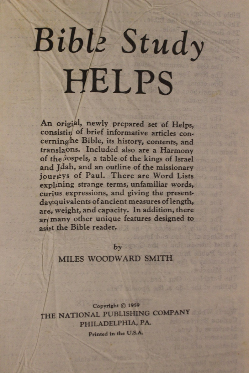 Holy Bible Concordance Reference Edition | Miles Woodward Smith (1959, The  National Publishing Company)
