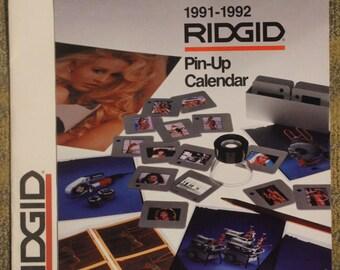 Ridgid-Brand Manufactured Tools and Equipment 1991-1992 Swimsuit Pin-Up Calendar w/ Original Envelope