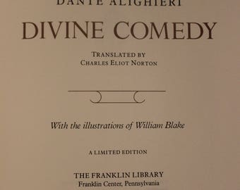 The Divine Comedy | Dante Alighieri w/ Illustrations by William Blake (Franklin Library: The Great Books of the Western World, 1978)