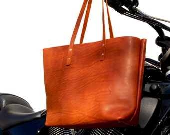 Librarian Tote | Genuine Tote Bag | Leather Tote Bag | Large Brown Leather Tote | Tote Bag for sale | Gift for Her