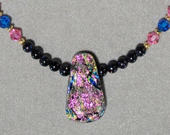 Pink Multi-color Dichroic Glass Teardrop Necklace - g0141n19