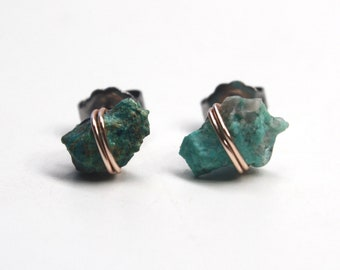 Titanium Hypoallergenic Studs Crystal and Gemstone Healing All Chakras  Rose Gold Wire by The Salty Crystal Moldavite Stud Earrings