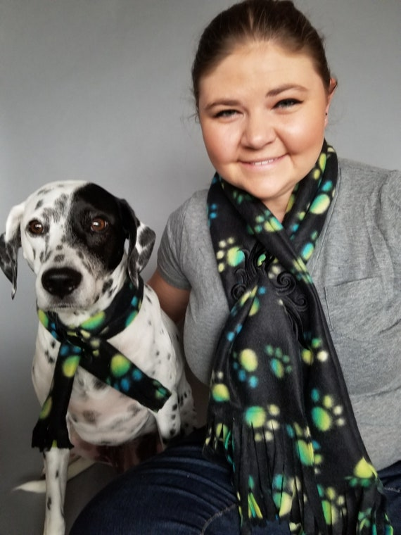 Human and Dog set or individually Paw Print Black and White Fleece Scarf with Embroidered accent
