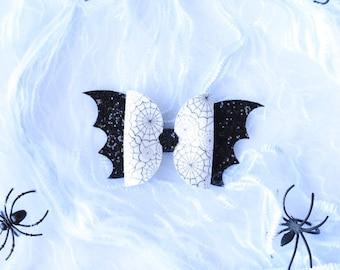 "Halloween 6/""  Black GLOW IN THE DARK Cobweb Punk spider hair bow clip Goth"
