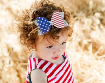 Red, White and Blue Bow, American Flag Hair Bow, Fourth of July Bow, 4th of July Bow, 4th of July outfit baby girl