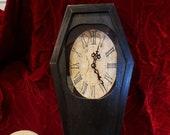 Handmade Beautiful Wood Coffin Clock Wall Mantle Clock Whimsical Clock Black Vampire Goth