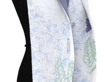 Hemp and cotton, moths and lilies double layer scarf