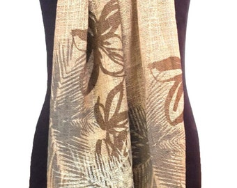 Fair trade taupe organic cotton scarf with tropical leaves