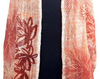 Fair trade red and white organic cotton scarf with tropical leaves