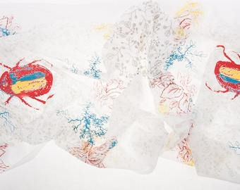 White cotton scarf with bright bugs and leaves