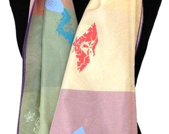 100% Silk, 'Rainbow garden' scarf