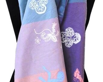 100% silk, colourful 'Pastel Garden' scarf