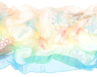 Silk Chiffon pastels scarf with dragonflies and flowers.