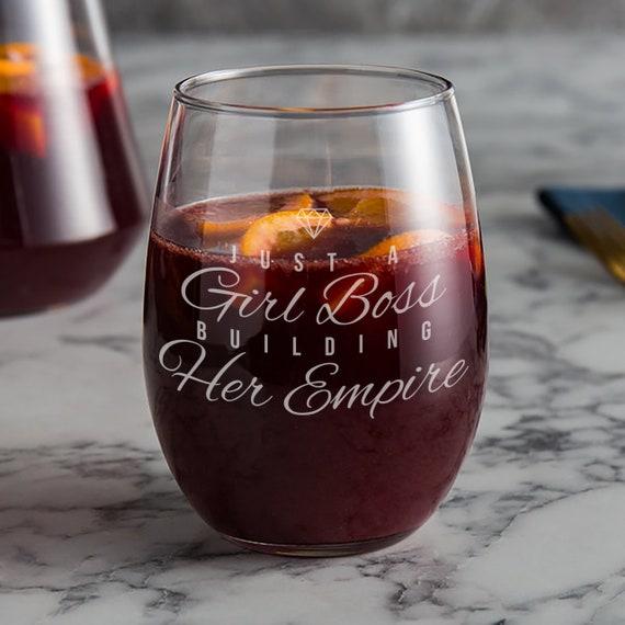 Girl Boss gift Stemless Wine glass  Perfect birthday or