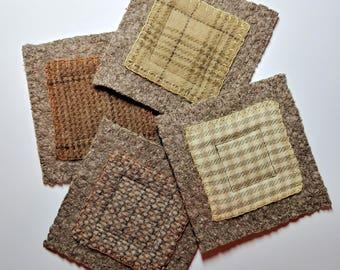 Coasters, Repurposed Coasters, Wool Coasters, Quilted Coasters