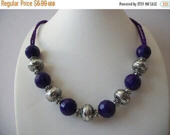 ON SALE Vintage BOHO Silver Purple Plastic Metal Beads Necklace 102516