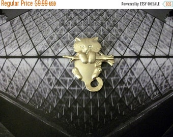 ON SALE Retro AJC Larger Two Tone Cat Hanging From Tree Branch Pin 110716