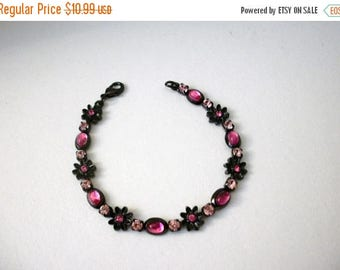 ON SALE Retro Metal Pink Rhinestones 7 Inch Bracelet 9617