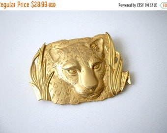 ON SALE Retro Bright Gold Tone Heavier PARKSLANE Exotic Cat Surreal Grrrrrrrrrrrr Pin 103016