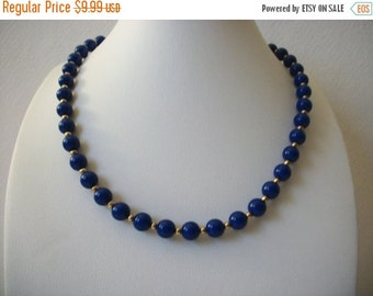 ON SALE Vintage MONET Dainty Blue Gold Necklace 112816