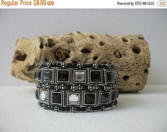 ON SALE Retro Heavier Wide Silver Tone Metal Clear Glass Black Stone Inlays Stretch Bracelet 82116