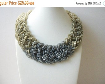 ON SALE Hand Knotted Braided Micro Japanese Seed Glass Beads Chunky Wide Collar Necklace 51018