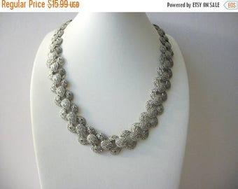 ON SALE Vintage 1950s Metal Silver Tones Very Textured Heavier Panel Necklace 102416