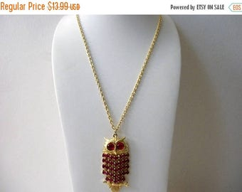 ON SALE Vintage Gold Tone Red Eyes Rhinestones Owl Necklace 72517