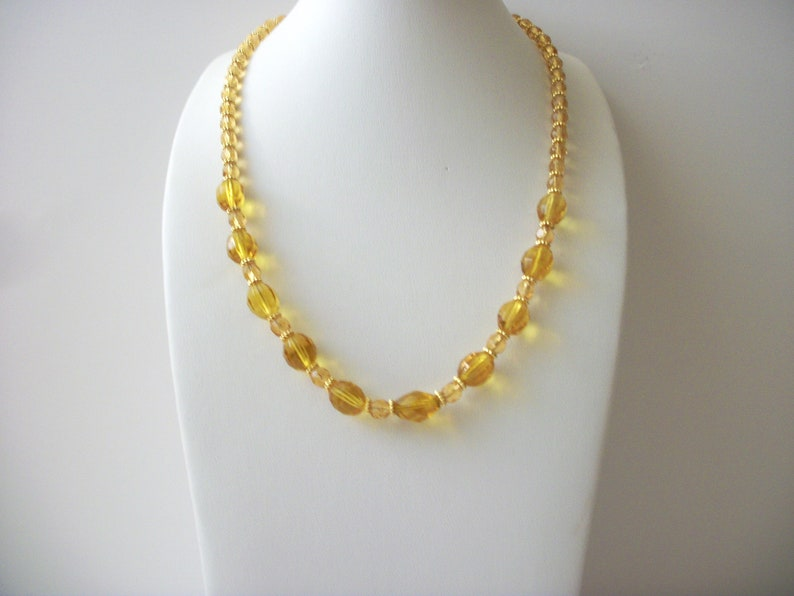 Vintagte Czech Glass Honey Gold tone Spacers Necklace 71218F
