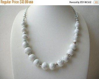 ON SALE Vintage HOWLITE With A Hint of Palest Blue Clear Rhinestones Necklace 30317