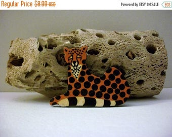 ON SALE Vintage Grrrrr Wooden Hand Painted Exotic Cat Pin 40217