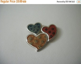 ON SALE Vintage 1950s Silver Tone Colorful Enameled Hearts Pin 506