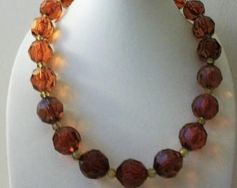 ON SALE Retro Shimmery Translucent Faceted Amber Olive Shades Acrylic Beads Necklace 101916