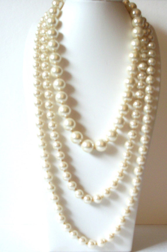 Vintage Long Faux Pearl Layered Necklace 70516