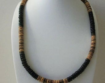 ON SALE Retro BOHO Earthy Brown Black Wooden Beads Magnetic Closure Necklace 101916