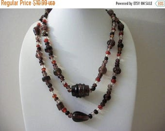 ON SALE Retro All Glass Beads Hand Made Lamp Work NO Clasp Italian Murano  Necklace 70716