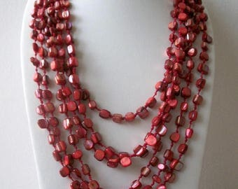 ON SALE Vintage Heavier Multi Strand Dyed Red Shades Shell Necklace 9617