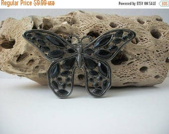 ON SALE Vintage Antiqued Silver Tone Black Resin Open Scroll Larger Butterfly Pin 9617