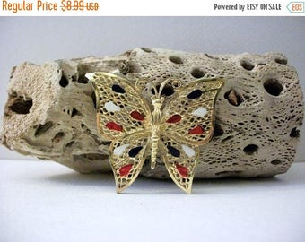 ON SALE Vintage Gold Tone Filigree Larger Enameled Butterfly Pin 31417