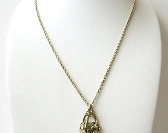 ON SALE Vintage 1928 Manufacturing Company Pale Gold Tone Key To My Heart Rhinestone Necklace 51017