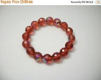 ON SALE Vintage Shimmery Orangey Red Glass Bracelet