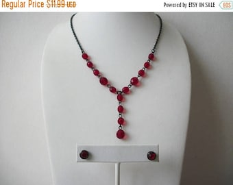ON SALE Retro 1928 Manufacturing Company Metal Red Glass Dangle Necklace Stud Earrings 2 PC 61916