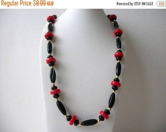 ON SALE Retro Black Red Gold 32 Inch Plastic Beads Necklace 62317