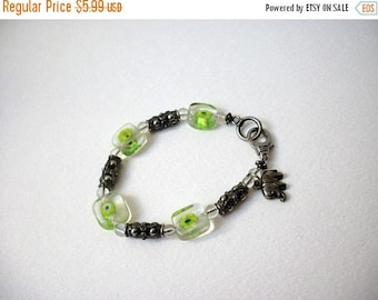 ON SALE Vintage Antiqued Silver Tone Metal Lamp Work Murano Glass Distressed Elephant Charm 8 Inch Bracelet 51716