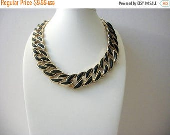 ON SALE Retro 1960s Heavier Gold Tone Black Enameled Link Panel Necklace 52016