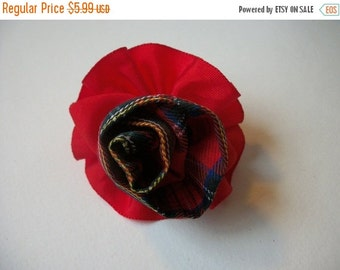 ON SALE Vintage Red Plaid Fabric Flower Hair Clip Pin 786