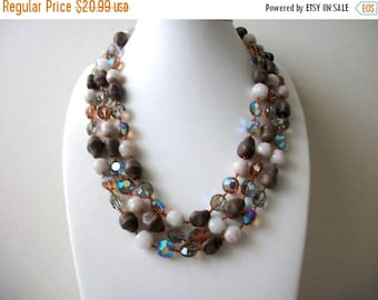 ON SALE Vintage 1950s All Glass Triple Strand Heavier Necklace 70716