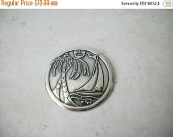 ON SALE Vintage Antiqued Silver Over Sized Island Metal Pin 62317